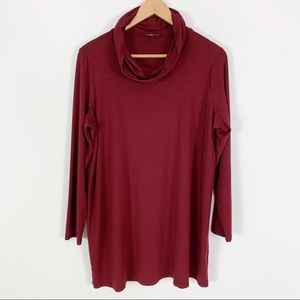 Eileen Fisher Burgundy Cowl Neck Top Large